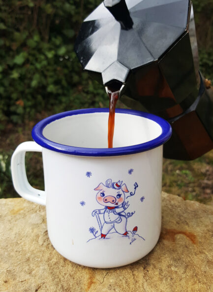 Produkt - Emaille Tasse Schwein