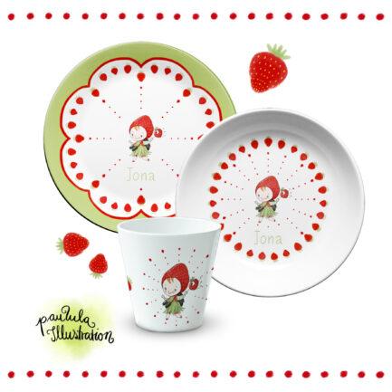 Kindergeschirr 3er Set Erdbeere