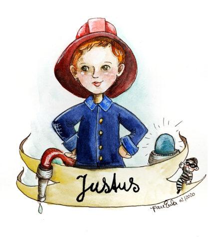Auftrags Portrait Illustration 1 Person Feuerwehr