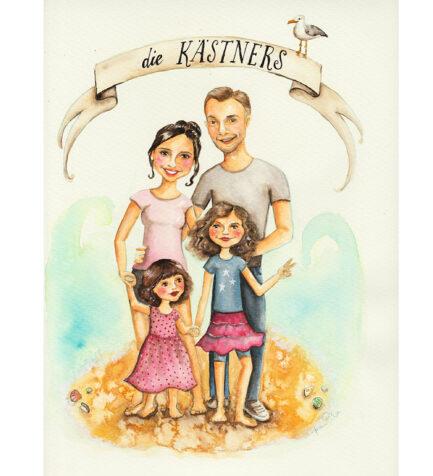 Auftrags Portrait Illustration Familie 4 Personen