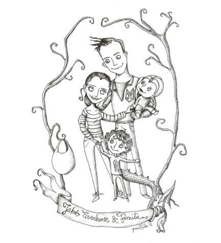 Auftrags Portrait Illustration Familie sw 4 Personen