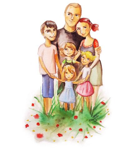 Auftrags Portrait Illustration Familie 6 Personen