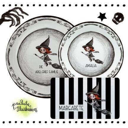 Halloween Geschirr mit Hexen Motiv, personalisiert, großer Teller, kleiner Teller, Frühstücksbrettchen