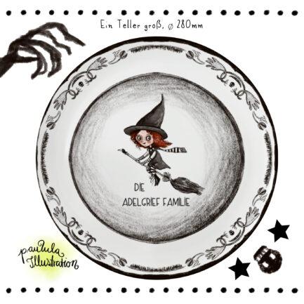 Halloween großer Nasch-Teller, personalisiert aus Melamin, mit Hexe