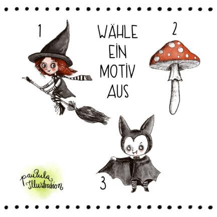 Halloween Motiv-Wahl, Hexe, Pilz, Vampir