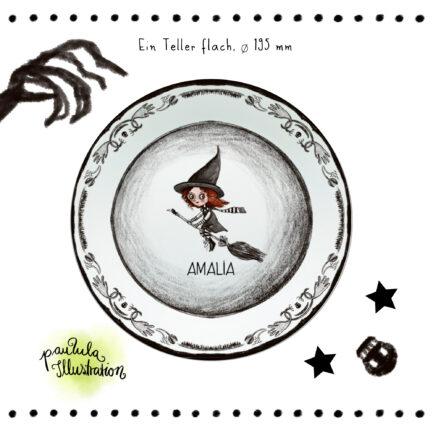 Halloween Picknick-Teller, personalisiert aus Melamin mit Hexe